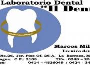Elaboración de planchas, puentes y reparaciones. Brekers y Frenillos, Iimplantes dentales óseo integrados. También Ortodoncia Técnica Lingual, etc. Trabajos a domicilio.