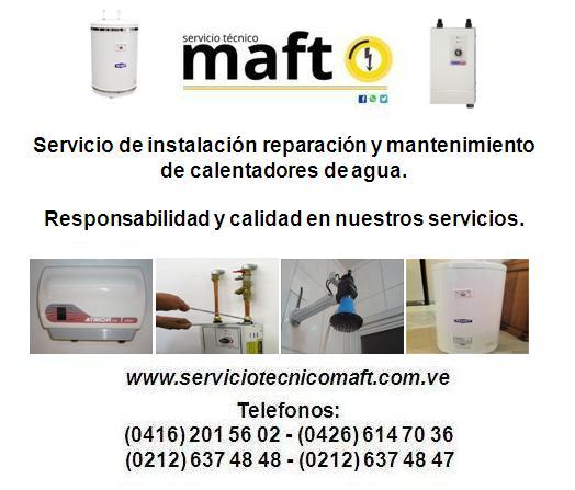 Servicio de instalación reparación calentadores de agua en caracas