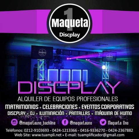 Discplay, iluminación, pantallas, música en vivo.